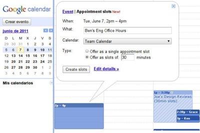 Google Calendar habilita espacios para citas en tu calendario