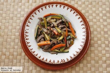 Salteado de verduras y ternera