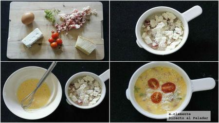 Frittata de tomate, queso feta y baicon