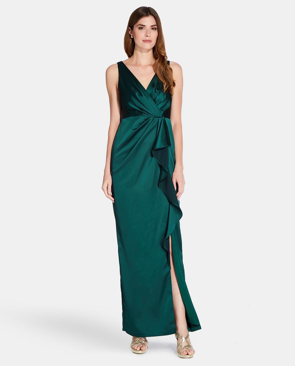 Vestido de mujer Adriana Papell verde con abertura lateral