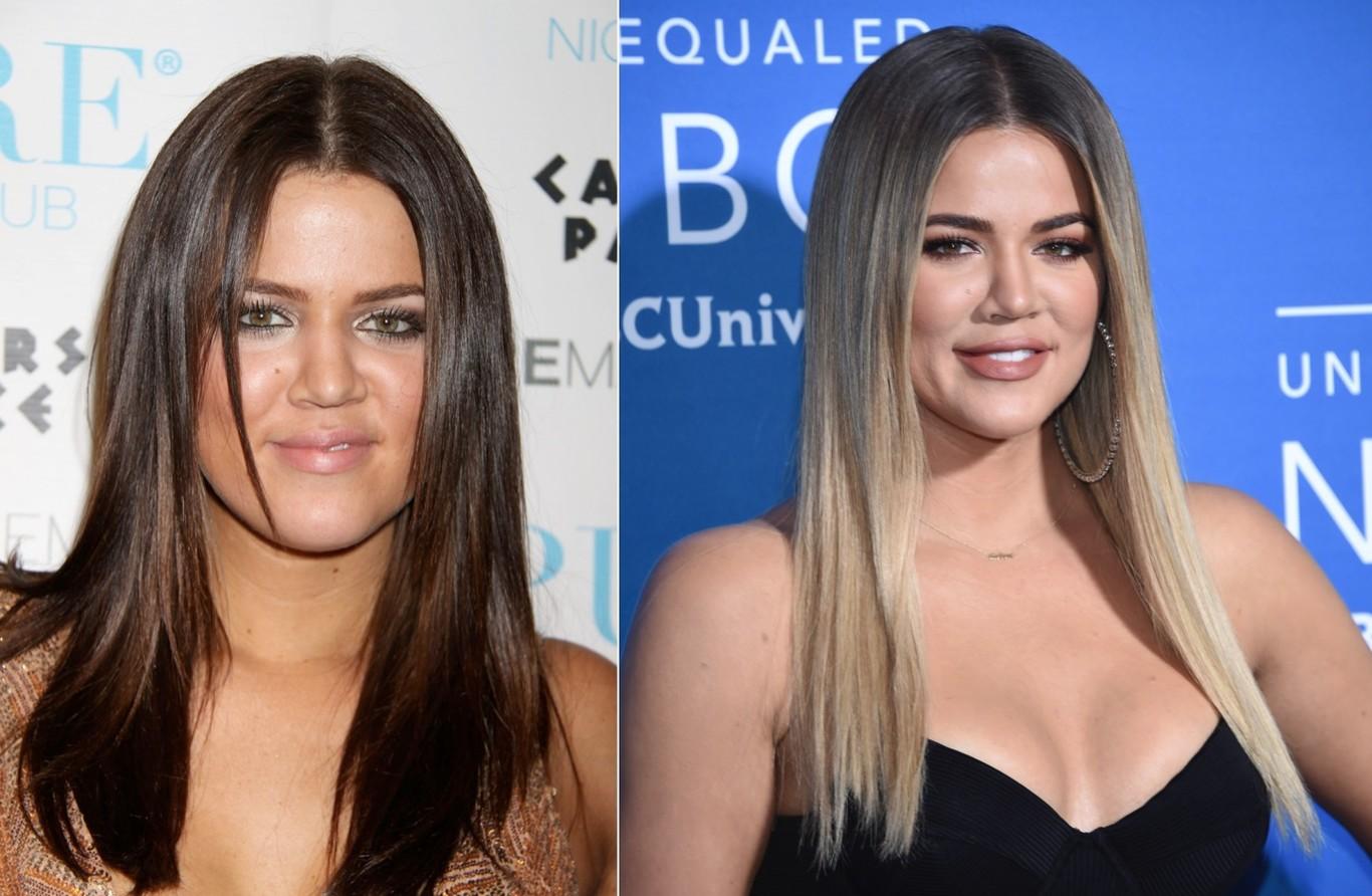 Khloé Kardashian en 2008 y en 2018
