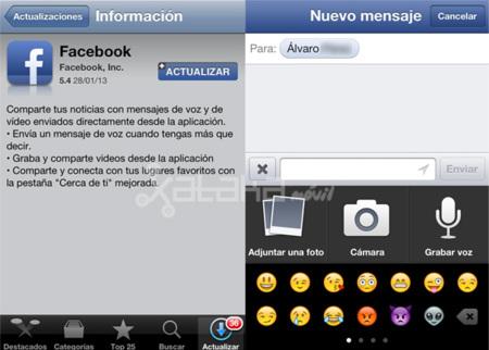 Facebook actualiza su app de iOS a la versión 5.4 con mensajes de vídeo y voz