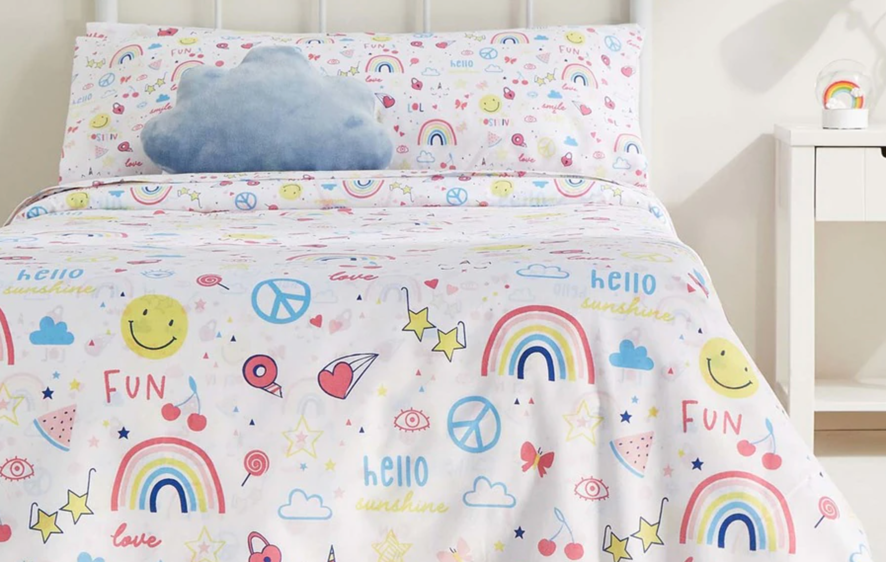 Juego de sábanas infantil con bajera Doodle Basics de colorines