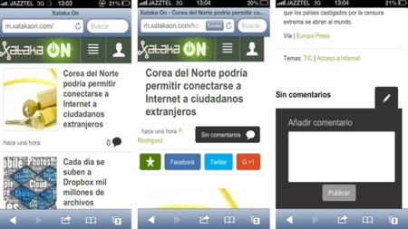 Actualizamos la versión móvil de Xataka On:  gestos táctiles, comentarios y una mejor lectura