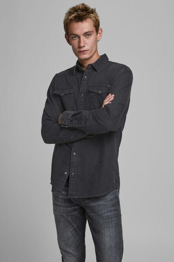 Camisa negra en mezcla de denim y algodón