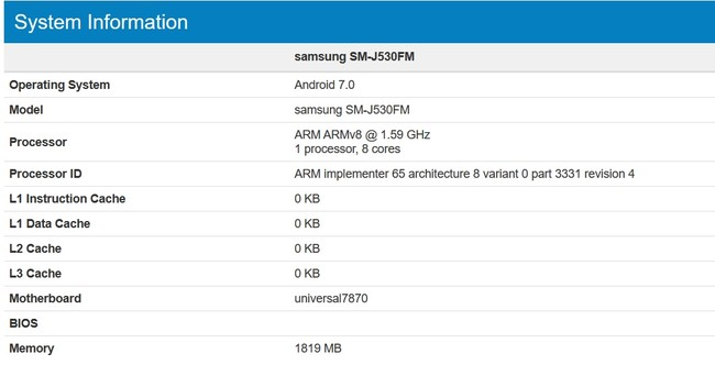 Galaxy J5 2017 Geekbench
