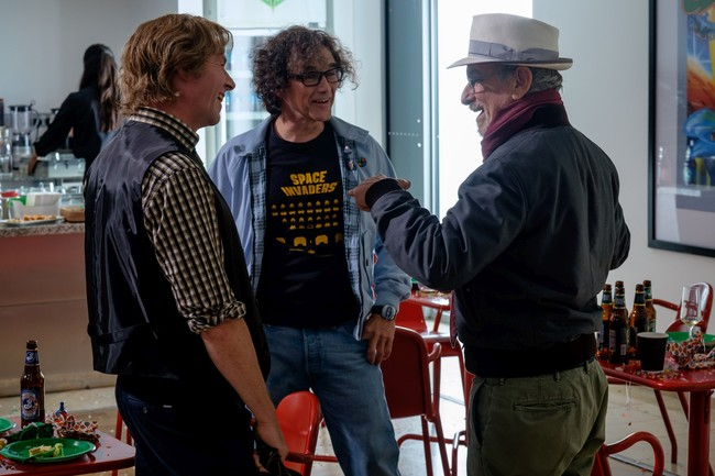 Spielberg with Simon Pegg and Mark Rylance in the Ready Player One