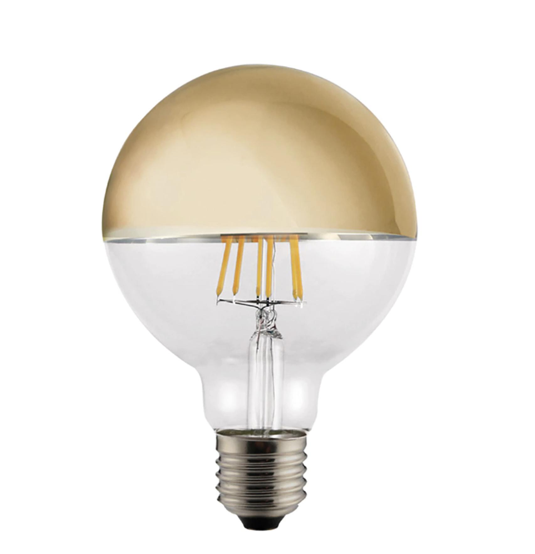 Bombilla LED globo con filamento visto en oro CristalRecord