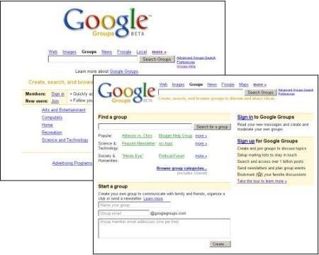Google cambia la página de entrada de Google Groups
