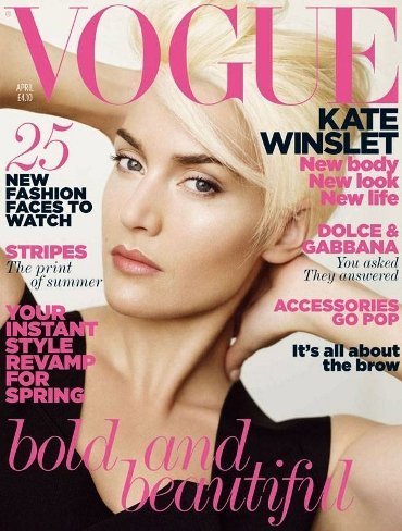 Kate Winslet luce su nuevo corte pixie en la portada de abril de Vogue UK