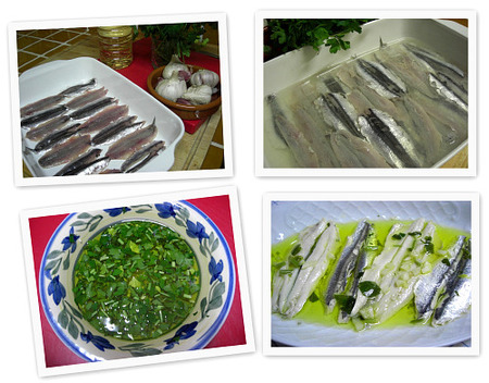 Boquerones en vinagre. Collage