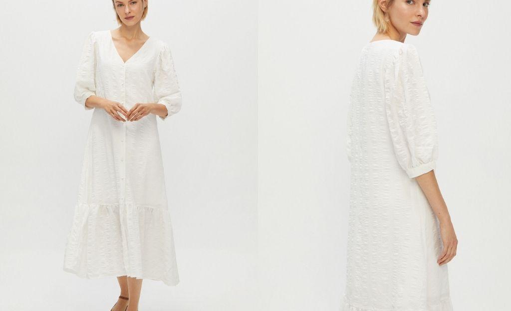 Vestido midi blanco