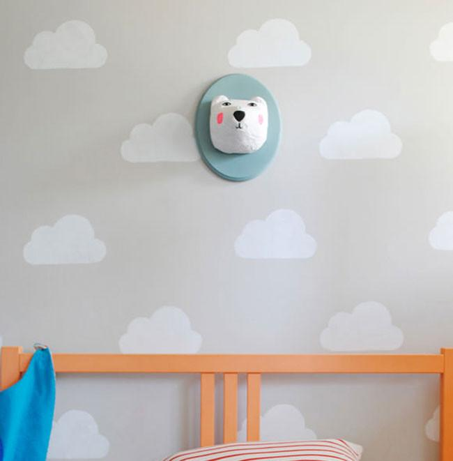 otra idea sencilla y hermosa para decorar las paredes de un dormitorio infantil