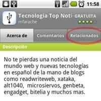 """Nueva pestaña """"Relacionados"""" y clasificación por edades en Android Market"""