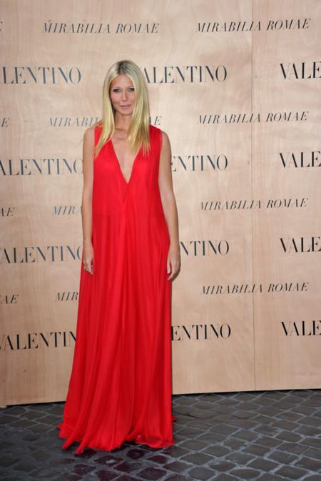 Gwyneth Paltrow Vestido Rojo Front Row Valentino Alta Costura 2015 2
