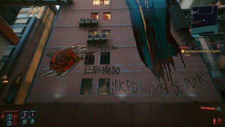 Ha vuelto a suceder: después de PUBG, Cyberpunk 2077 nos sorprende con el graffiti de EMOSIDO ENGAÑADO en uno de sus edificios