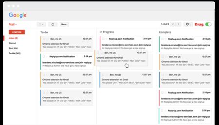 Drag quiere organizar tu Gmail con el método kanban, tu bandeja de entrada como un tablero de Trello