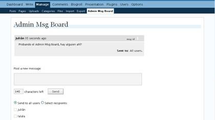 Admin Msg Board, sistema de mensajes privados para los autores de un blog