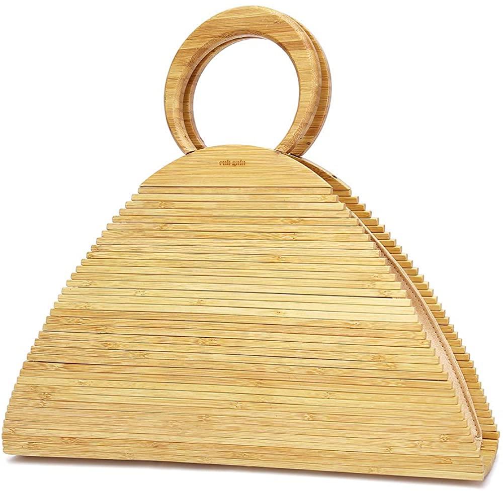 CestnYuun Verano Playa Acrílico Playa Vacaciones Bolso de Bambú Mujer Ratán Paja Bolso de Mano al Aire Libre Regalo para Mujeres