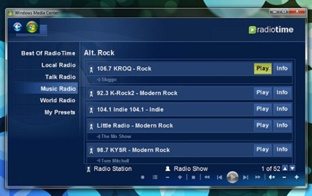 Escucha las radios online de RadioTime desde Windows Media Center