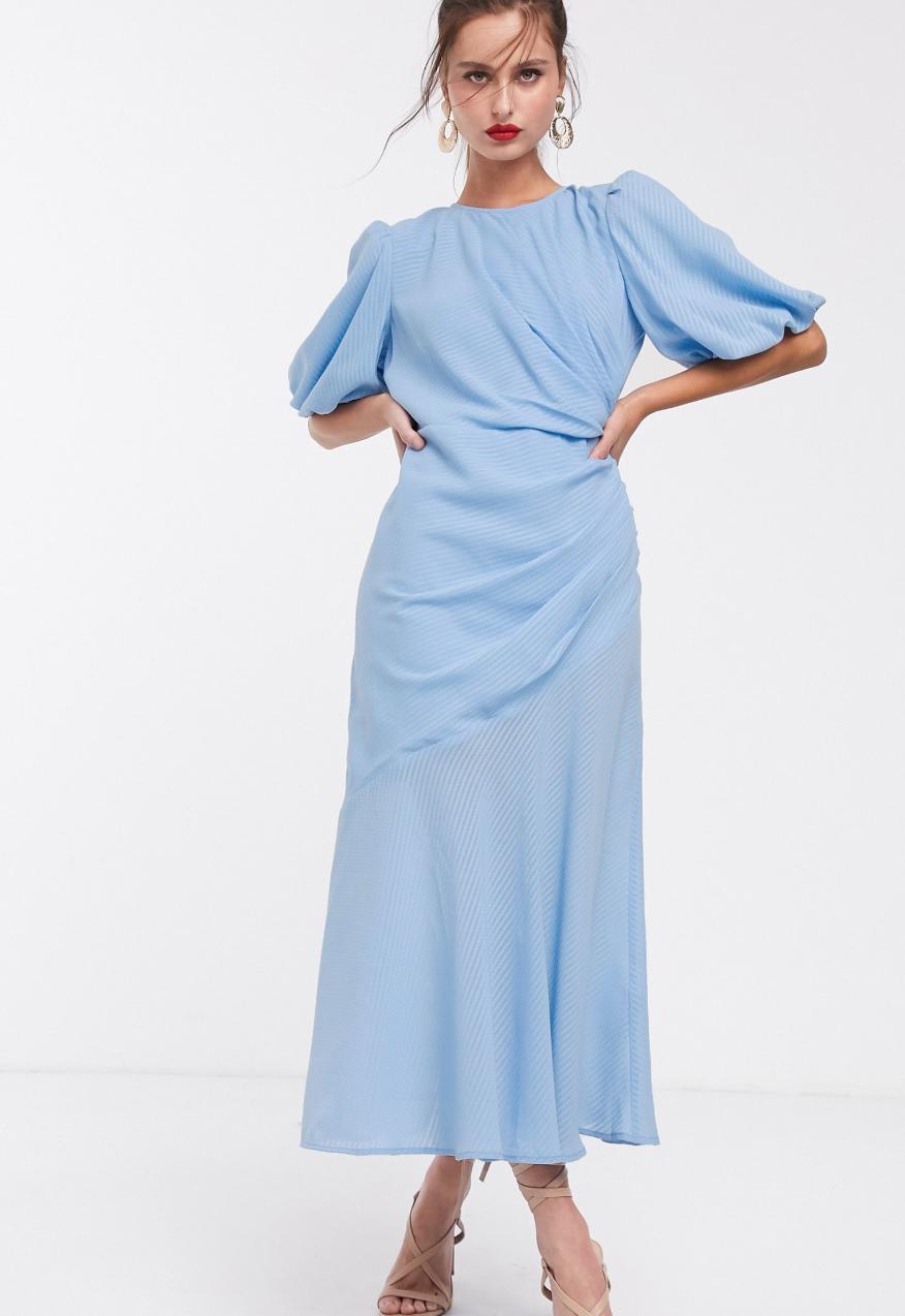 Vestido largo fruncido con manga abullonada a cuadros de ASOS DESIGN