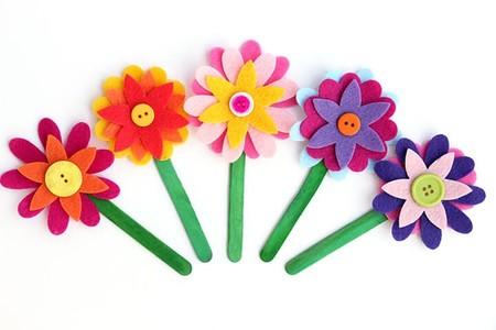 Manualidades Dia Madre Separador Flores Fieltro