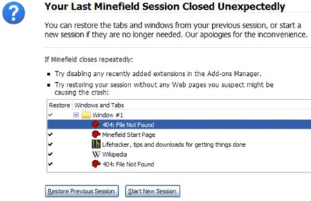 Firefox 3.1 mejorará la recuperación de sesiones