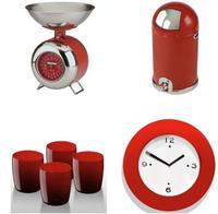 El color rojo invade la cocina