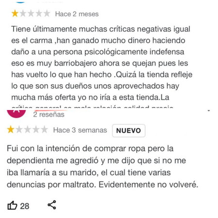 Reseñas falsas de la tienda de Olga Moreno