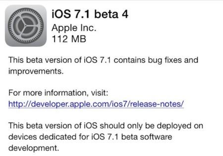 Aún no se ve iOS 7.1 en el horizonte, Apple pone a disposición de los desarrolladores la Beta 4 de iOS 7.1