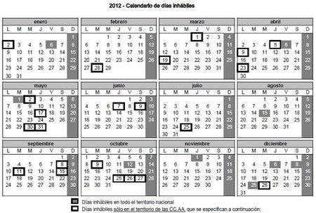Disponible el calendario 2012 de días inhábiles de la administración