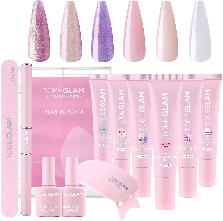 TOBEGLAM 6-Colores Poly Nail Gel Kit Completo para Extensión de Uñas