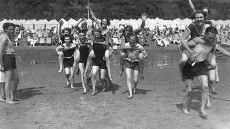 Shanklin On The Isle Of Wight 1928 Piggy Back Race