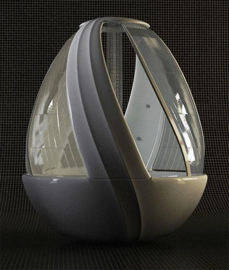 Cabina de ducha en forma de huevo, con bañera incorporada