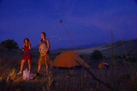 Mujeres embarazadas de camping