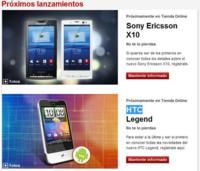 Sony Ericsson Xperia X10 y HTC Legend muy pronto con Vodafone