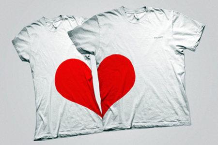 San Valentín: camiseta corazón partido