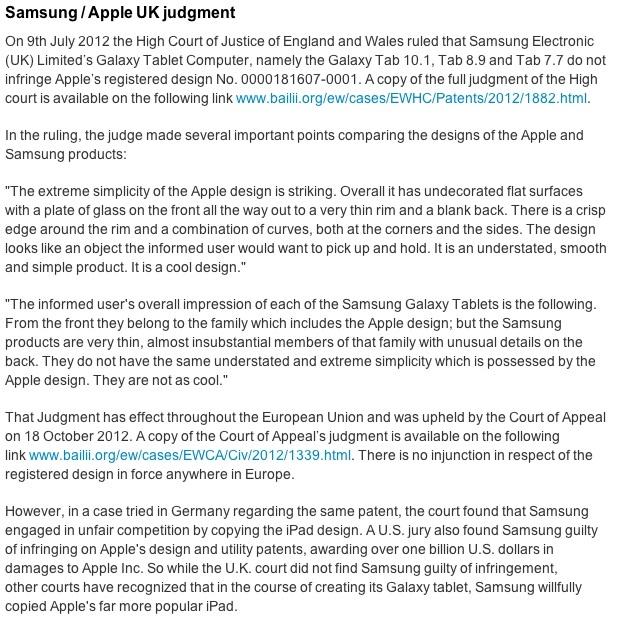 Comunicado de Apple sobre sentencia de Samsung en Reino Unido