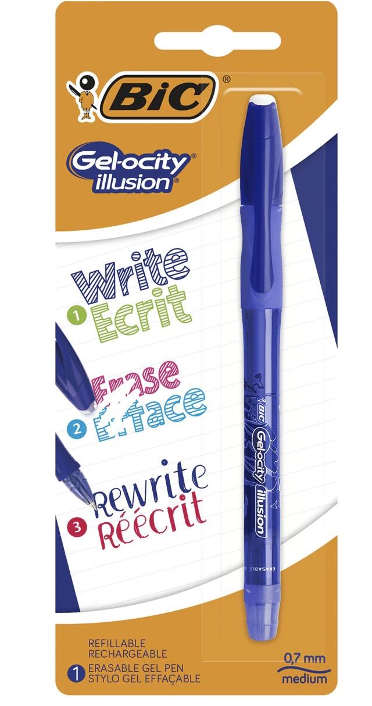 BIC  Bolígrafo Borrable Gelocity Illusion Bic Azul
