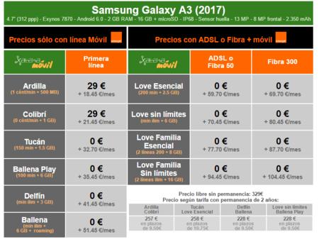 Precios Samsung Galaxy A3 2017 Con Pago A Plazos Y Tarifas Orange