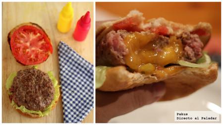 Hamburguesa rellena de queso cheddar. Receta