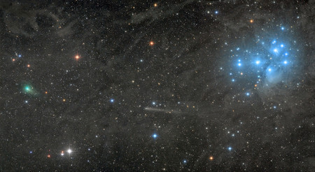 Two Comets With The Pleiades R Damian Peach