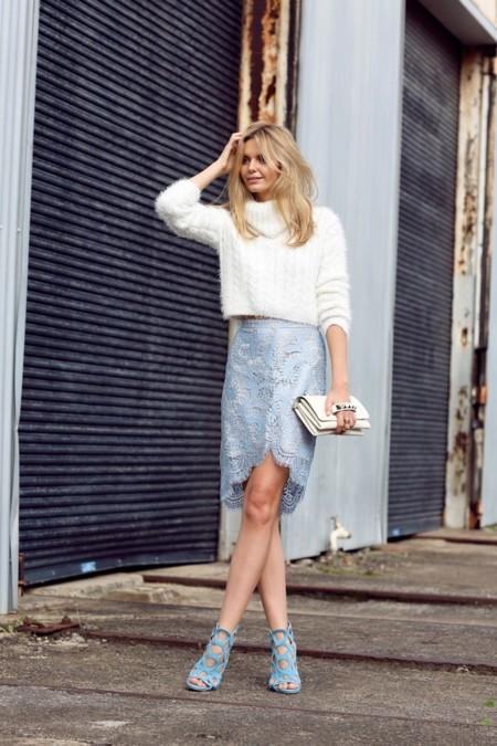 tuula falda encaje azul