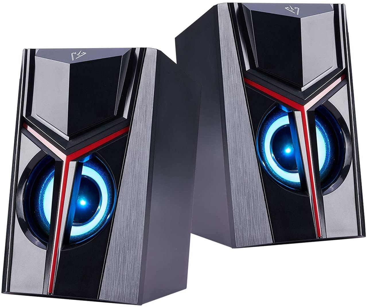 COOSEON - Bocinas para computadora con iluminación (cupón de 10% de descuento disponible)