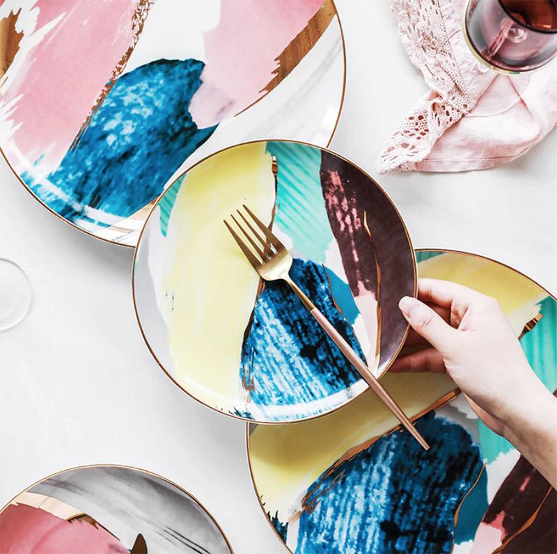 1 Uds. Vajilla acuarela pintura nube 8/10 pulgadas plato de cerámica cena plato para torta de porcelana plato de postre