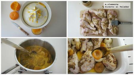 pollo al horno con salsa de mandarinas y frutas secas