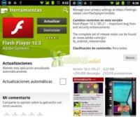 Aparece la inesperada actualización Adobe Flash 10.3 en el Android Market