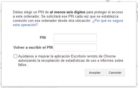 Petición del pin para la conexión remota