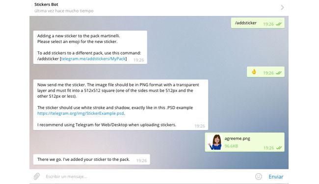 Añadir un nuevo sticker en Telegram