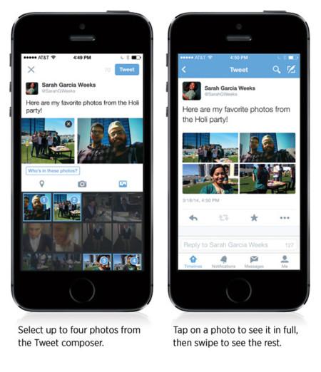 Twitter para iOS nos permite subir hasta cuatro fotografías en cada tuit y etiquetar a usuarios en ellas